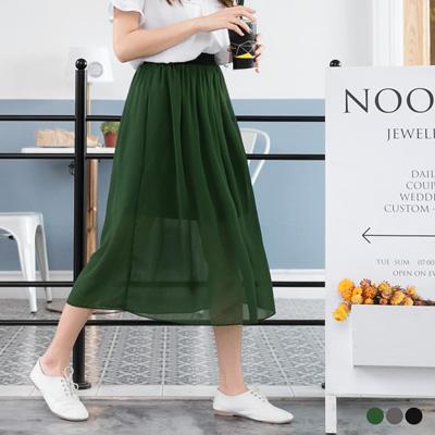 0523新品 夏日輕舞~飄逸感一片式透紗長裙.3色