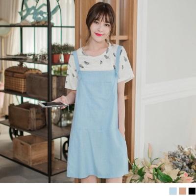 0328新品 休閒特色~純色大口袋造型連身吊帶裙.2色