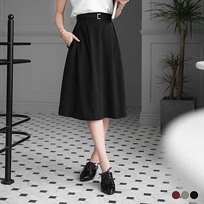 0315新品 純色打摺設計後腰圍鬆緊A字裙.3色
