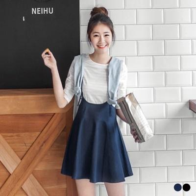 0324新品 素色後拉鍊細肩吊帶傘襬短裙.2色