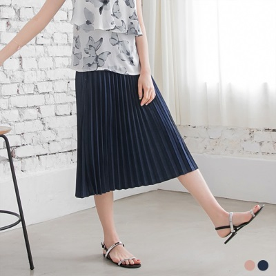 0407新品 純色質感腰鬆緊設計百褶裙.2色