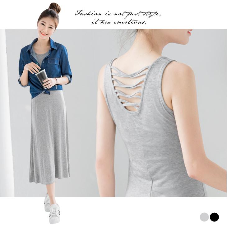 0411新品 素面後交叉鏤空設計無袖長洋裝.2色