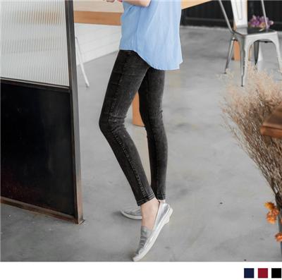 0622新品 纖美瘦型~彈力微粒質感雪花鬆緊窄管褲•3色