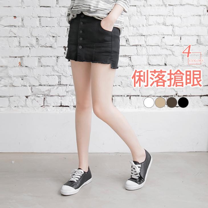 0428新品 排釦設計拼接褲型彈力ob奇摩褲裙?4色