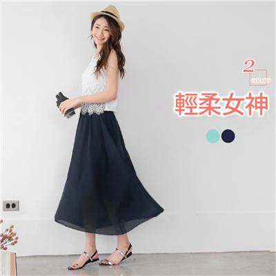 0623新品 蕾絲x雪紡拼接無袖背心長洋裝.2色