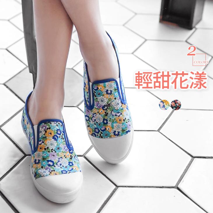 0310新品 ob精選滿版碎花圖樣帆布休閒鞋/懶人鞋.2色