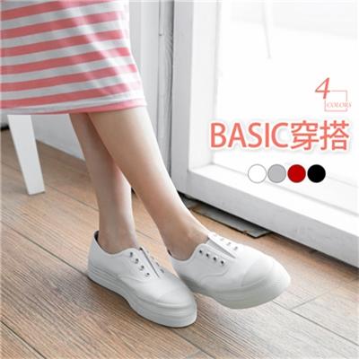 0615新品 素色穿孔造型簡約百搭帆布鞋.4色