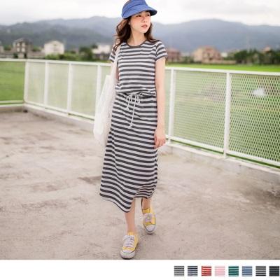 0321新品 休閒Time~橫條紋腰抽繩綁帶長洋裝‧5色