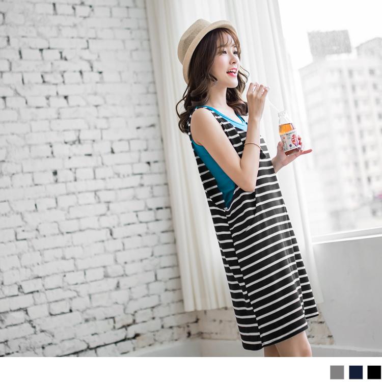 0ob牛仔褲505新品 兩件式條紋立體口袋剪裁洋裝.3色