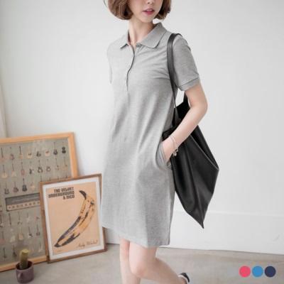 素面開襟襯衫領休閒洋裝.4色
