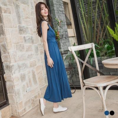 0623新品 素色腰綁帶造型無袖長洋裝.2色