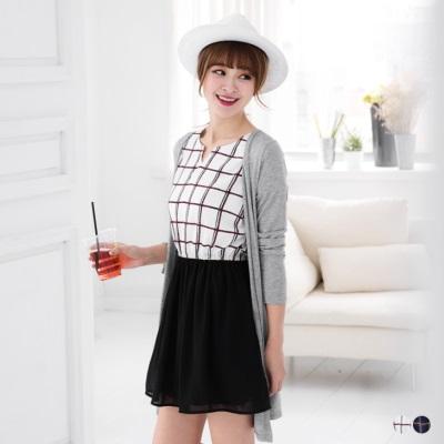 雪紡紗拼格紋反折連袖洋裝.2色