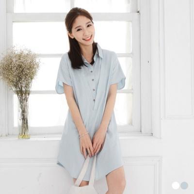 0315新品 純色後綁帶設計寬版長版上衣/洋裝.2色