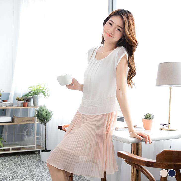0401新品 假兩件式布蕾絲百ob design褶設計雪紡洋裝.2色