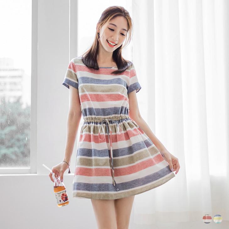 0330新品 親子ob服飾評價裝系列~配色橫條紋綁帶洋裝?女2色