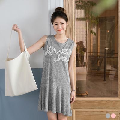 布蕾絲mix純色嫘縈面料無袖洋裝.2色