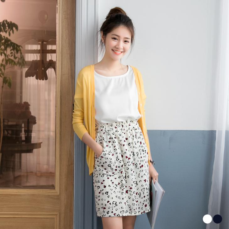 0426新品 素色x豹紋彩印花高ob嚴選品質腰鬆緊洋裝.2色