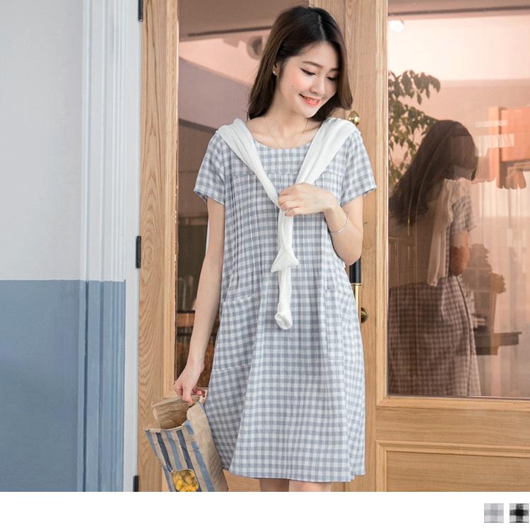 051ob大尺碼衣服6新品 格紋雙口袋打褶剪裁洋裝.2色