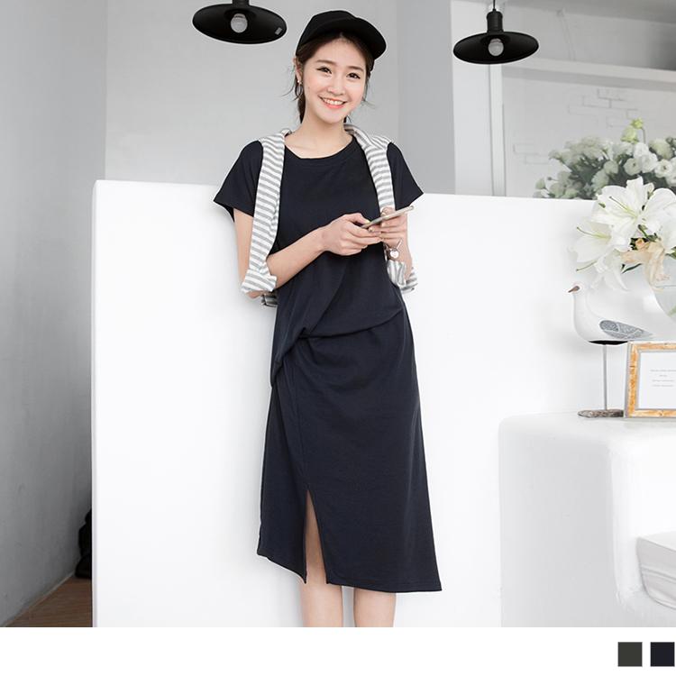 0317新品 素色不對ob精選稱剪裁連袖洋裝.2色