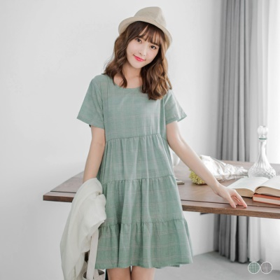 0317新品 清新格紋造型蛋糕裙洋裝.2色