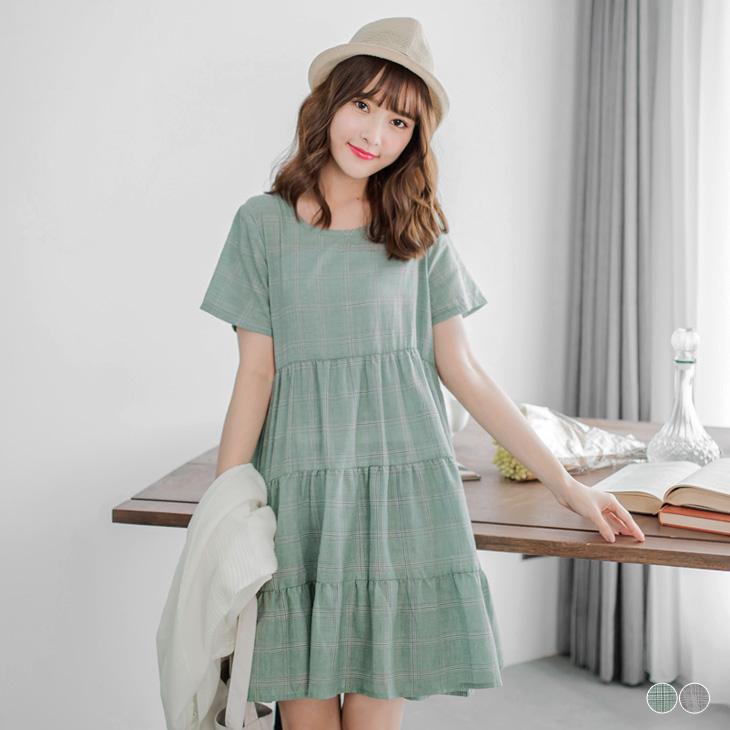 0510新品 清新格紋造型蛋糕裙洋裝ob嚴選.2色