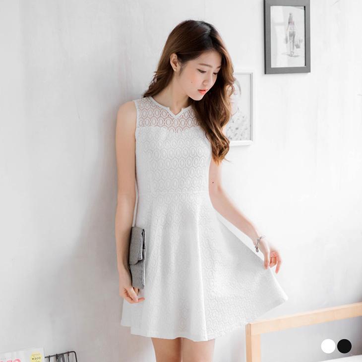 0307新品 素色彈性蕾絲透膚高腰背心洋裝.2色