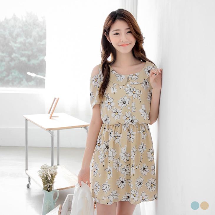 0407新品 ob嚴選地址滿版印花公主領設計挖肩洋裝.2色