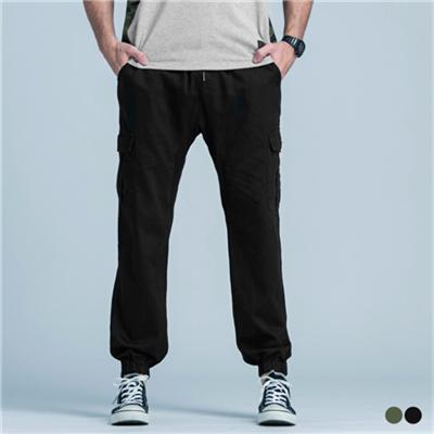 0505新品 休閒風鬆緊腰圍口袋設計縮口長褲‧2色