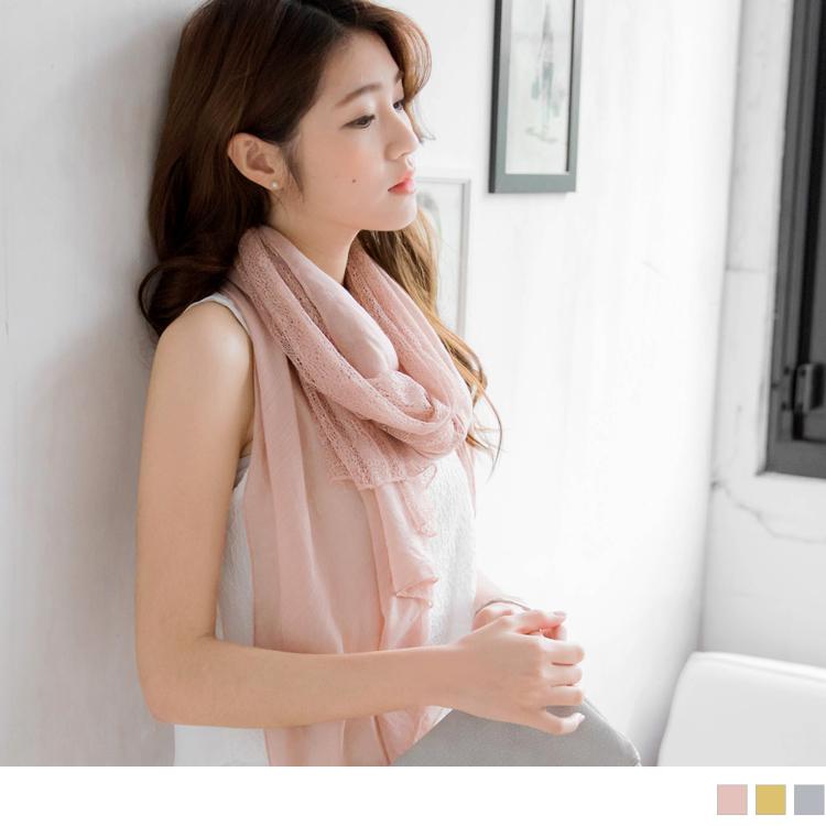 0429新品 素面拼接鏤空花蕾絲造型圍巾.3色