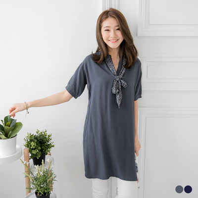 0601新品 附幾何領巾X素雅長版上衣/洋裝.2色
