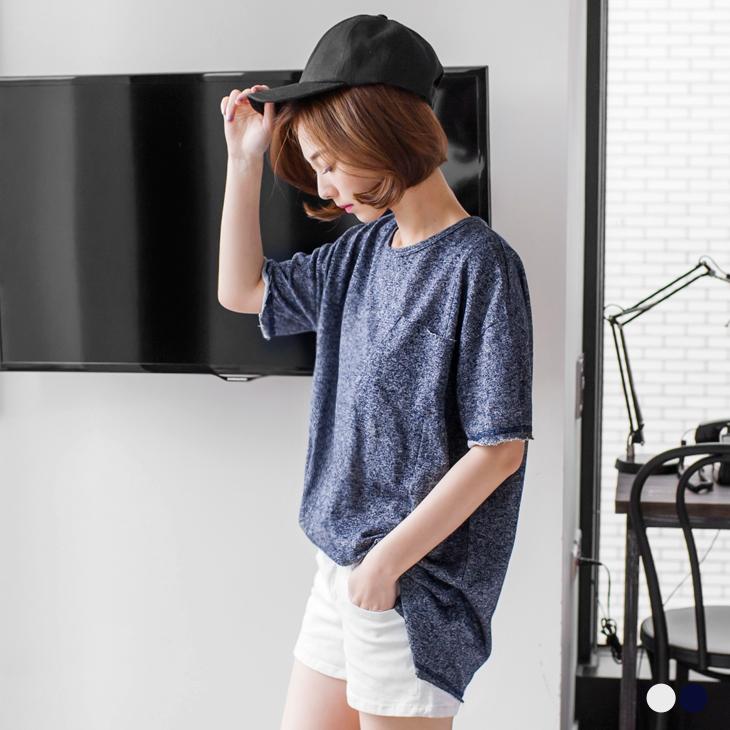 0420新品 ob嚴選 model混色彈性下襬不收邊圓領寬鬆休閒上衣.2色