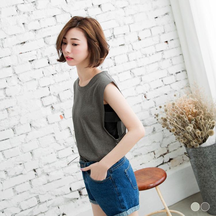 0413新品 純色造型寬袖設計前短後長背心.2色
