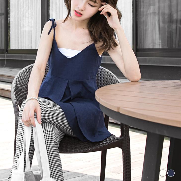0418新品 純色V領細肩綁帶設計傘擺上衣.2色