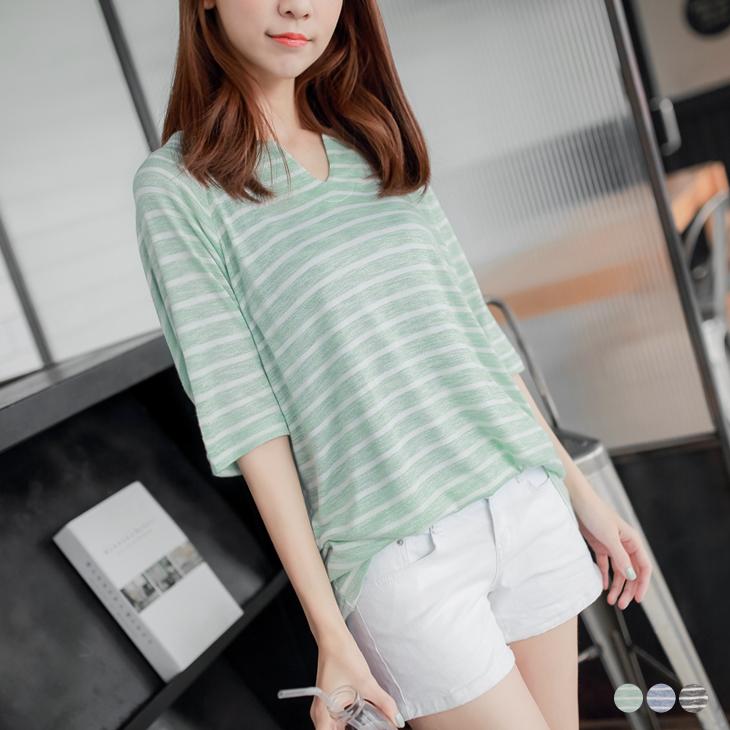 0414新品 橫ob 羽絨條紋柔軟質感V領寬鬆上衣.3色