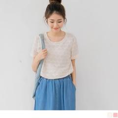 0411新品 純色鋸齒造型反折袖圓領上衣.2色