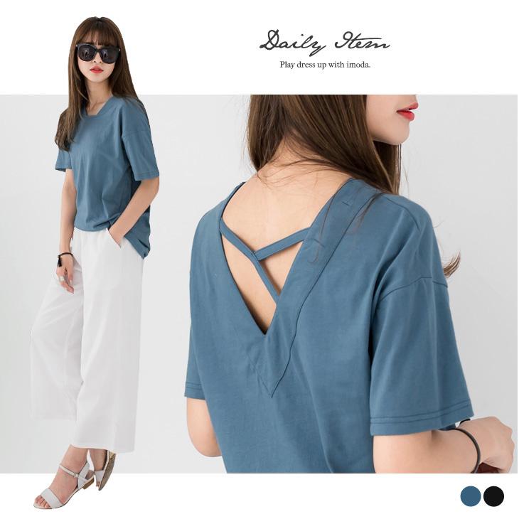 0425新品 後深V領交叉帶造型棉感寬鬆短袖上衣.2色