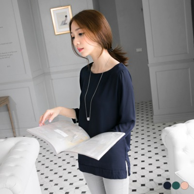0428新品 素色柔滑透膚雪紡圓領九分袖上衣.3色