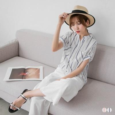0622新品 直條紋棉感半開襟寬鬆短袖襯衫.2色