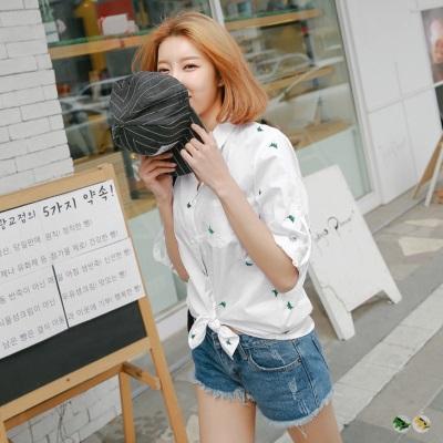 0504新品 小恐龍繡花反褶釦袖寬鬆襯衫上衣.2色