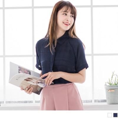 0427新品 條紋透膚感設計純色襯衫.2色