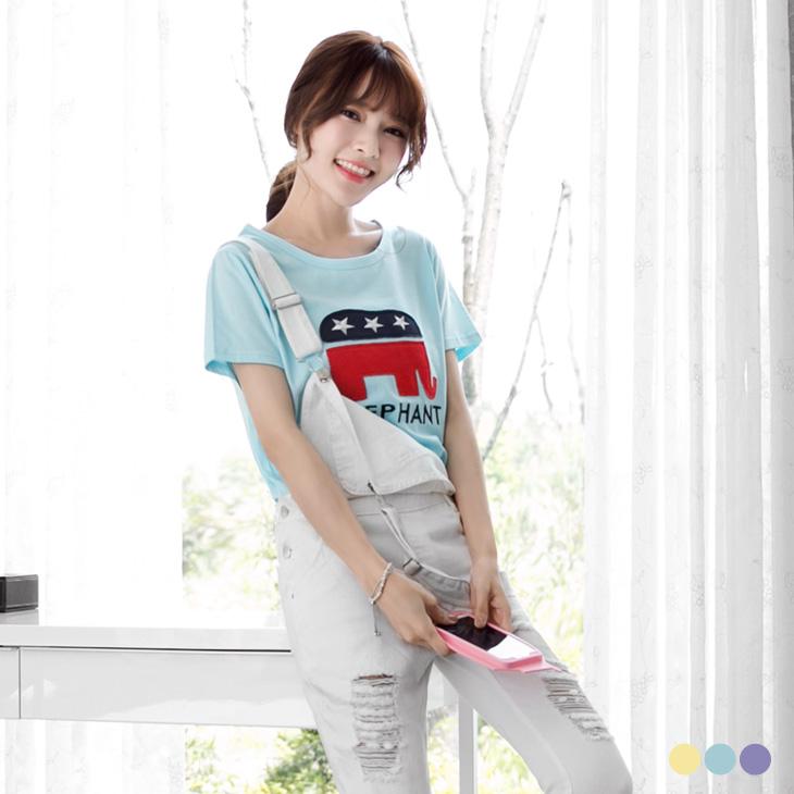 0426新品 大象星星縫布繡花棉感圓領短袖上衣.3色