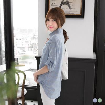 0429新品 格紋開襟配色側抓皺寬鬆襯衫/外套.2色