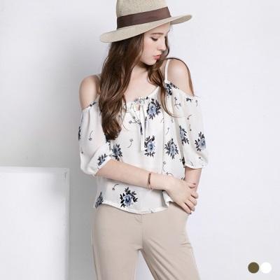 0523新品 花朵雪紡蓬袖一字領細肩帶上衣‧2色
