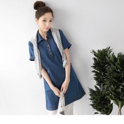 0616新品 開襟襯衫領設計牛仔長版上衣/洋裝