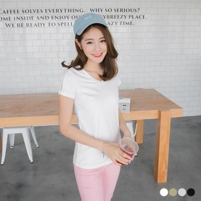 0503新品 純色V領拼鏤空造型滾袖上衣.4色