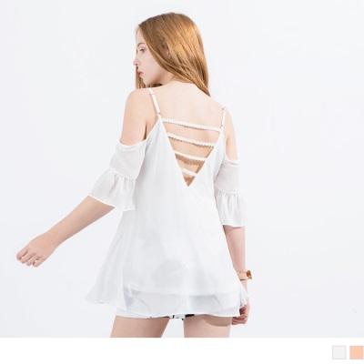 0516新品 細肩帶美背雪紡荷葉長版上衣‧2色