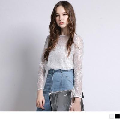 0516新品 透膚蕾絲雕花正反兩穿開襟上衣‧2色