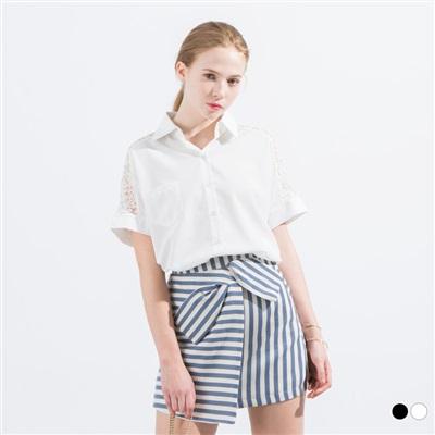 0523新品 透膚蕾絲雕花拼接襯衫‧2色