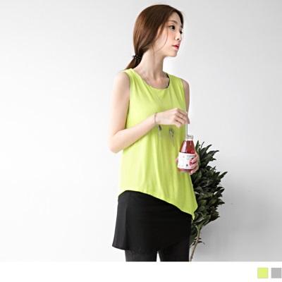 撞色拼接無袖假兩件式長版上衣/洋裝.2色