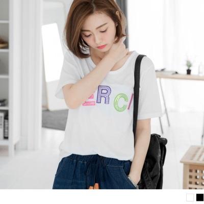 0506新品 亮片綴繽紛字母造型純色T恤.2色